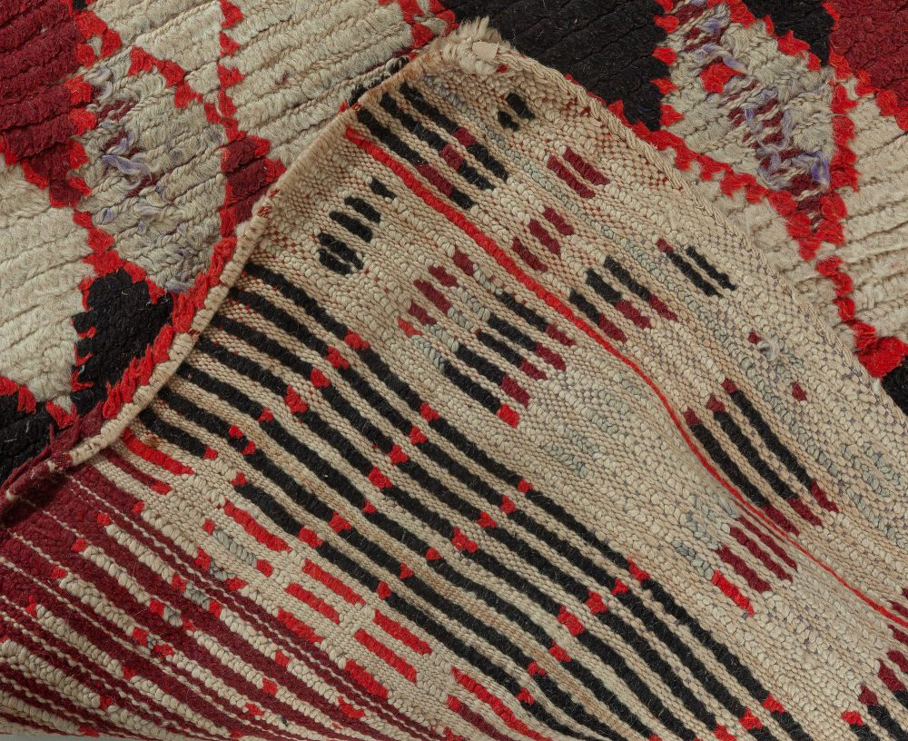 Vintage Moroccan Dark Red, Black and White Hand Knotted Wool Rug BB5758