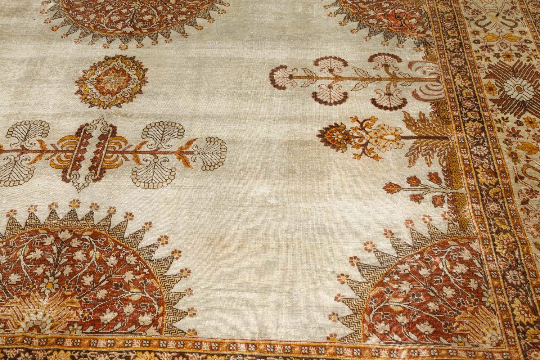 Persian Tabriz Brick Beige, Red, Pale Orange and Chocolate Brown Rug BB6098