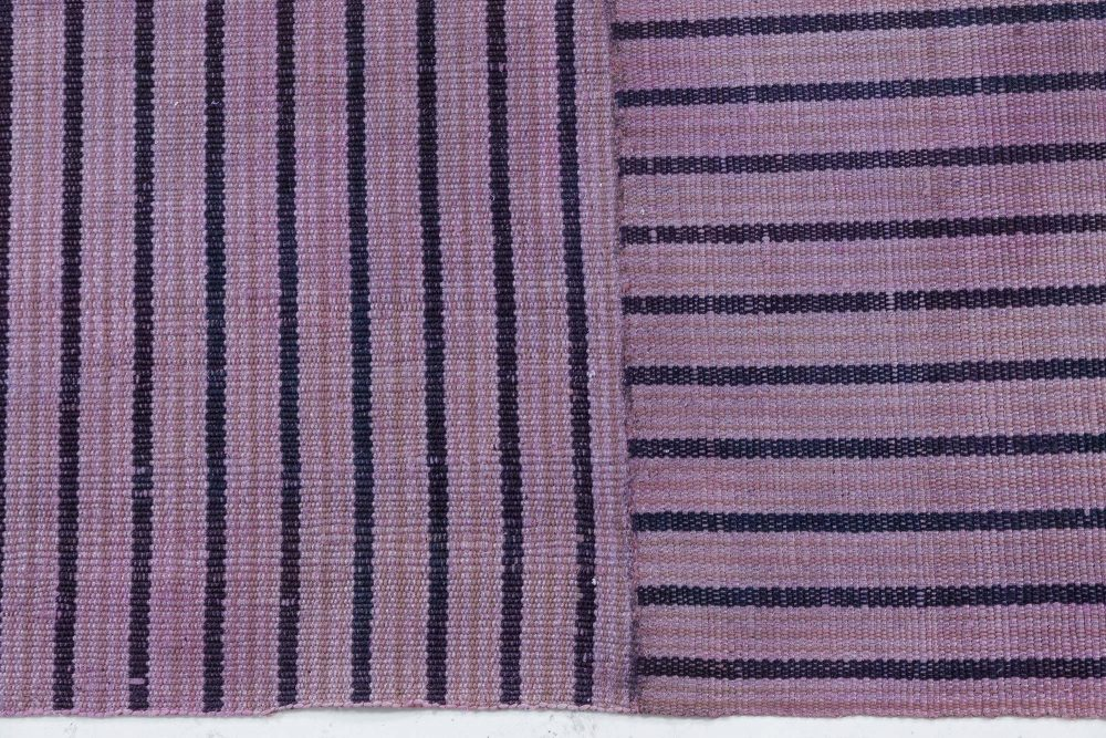 Midcentury Striped Purple Handwoven Wool Rag Rug BB6184