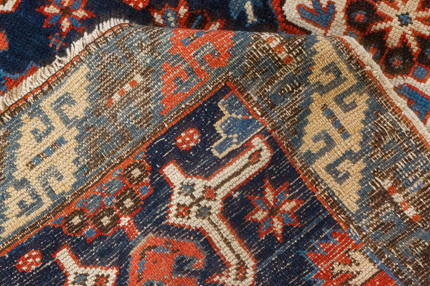 Russian Karabagh Geometric Black, Indigo and Red Wool Runner BB7071