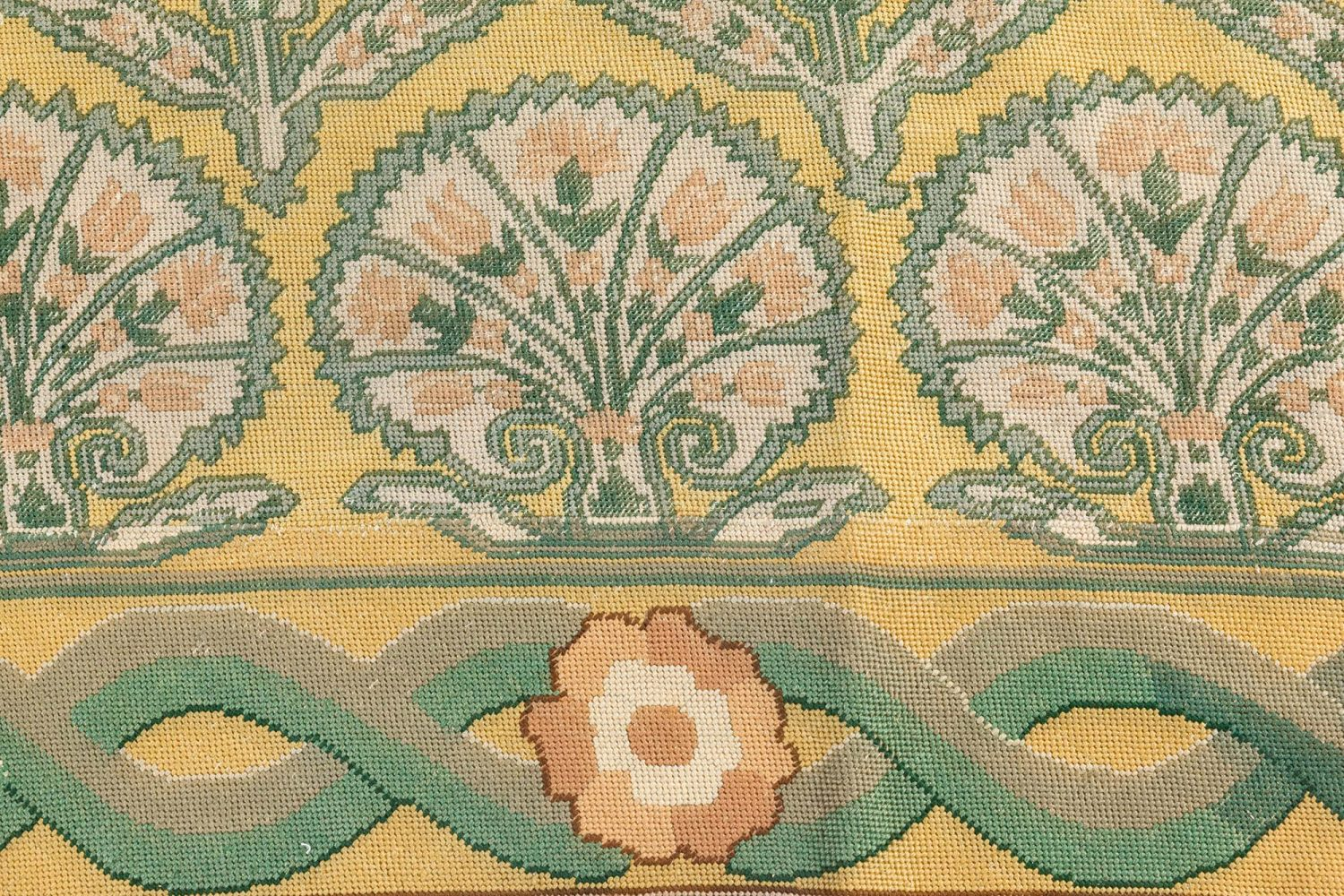 Antique Needlepoint Pale Green and Golden Yellow Carpet BB7072