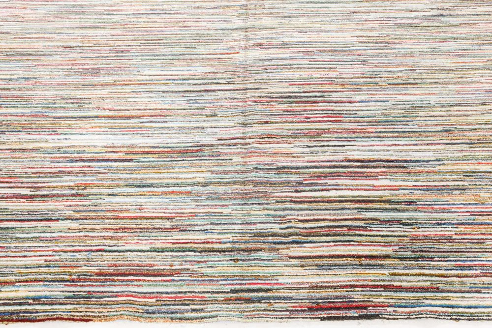 American Striped Brown, Ivory and Blue Handwoven Wool Rag Rug BB7078