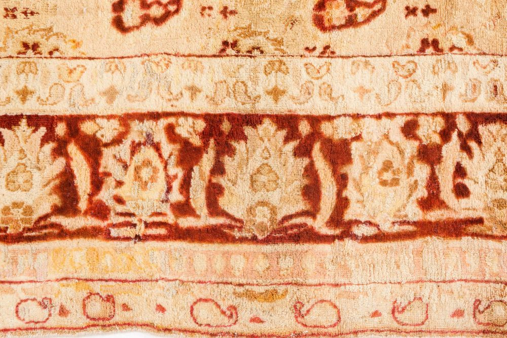 Antique Indian Amritsar Beige & Brown Handwoven Wool Rug BB7080