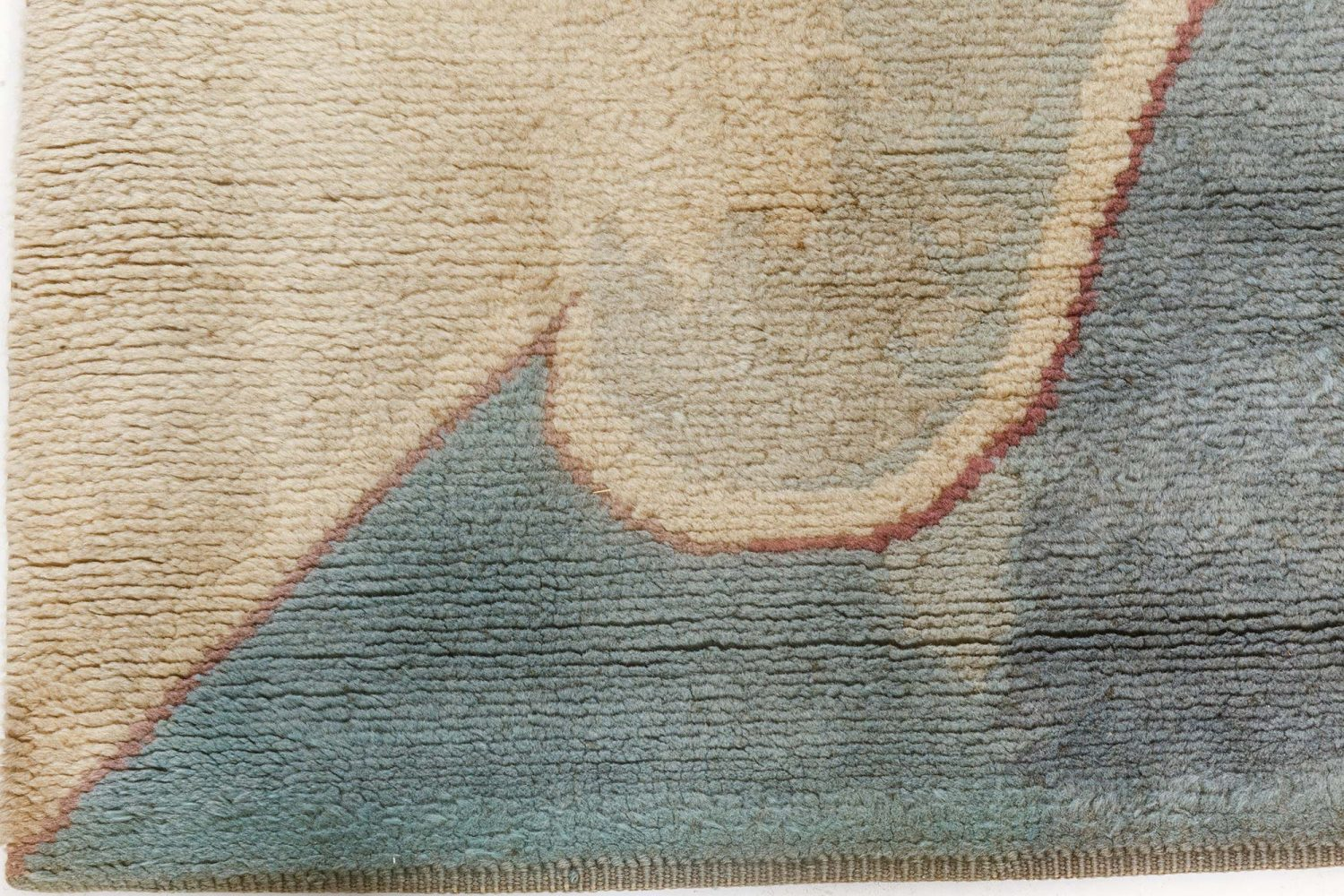 Vintage French Art Deco Purple, Blue and Sand Yellow Wool Carpet BB7089
