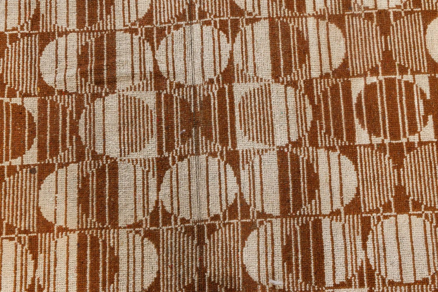 Vintage Art Deco Light Brown and Sand Handwoven Wool Carpet BB7092