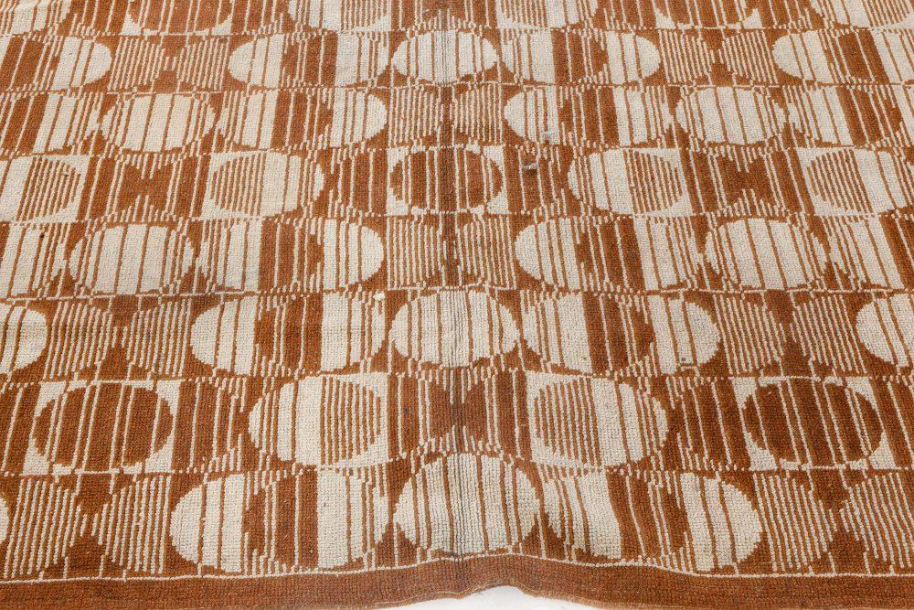 Vintage Art Deco Light Brown and Sand Handwoven Wool Carpet BB7092