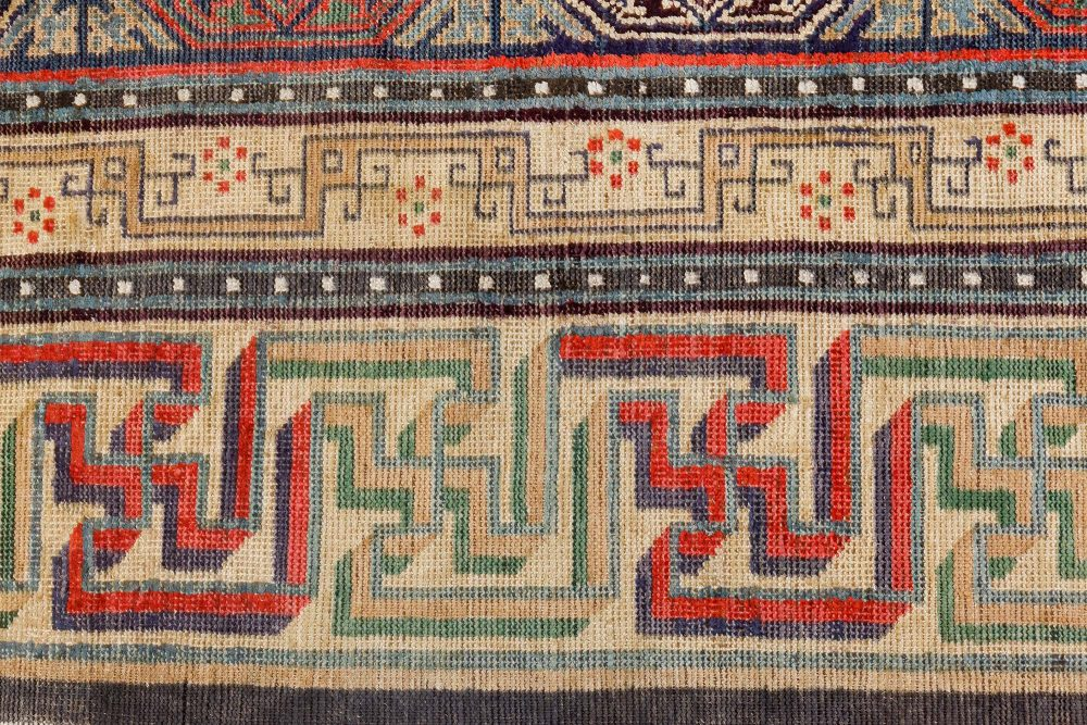 19th Century Silk Chinese Red, Black, Beige and Brown Rug BB7094