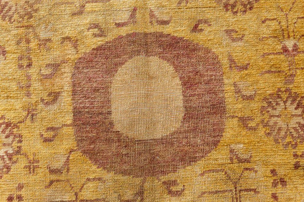Vintage Samarkand Khotan Yellow and Brown Handwoven Wool Rug BB7096