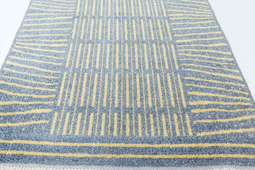 Handmade Vintage Swedish Wool Rug in Blue-Grey and Yellow BB7102