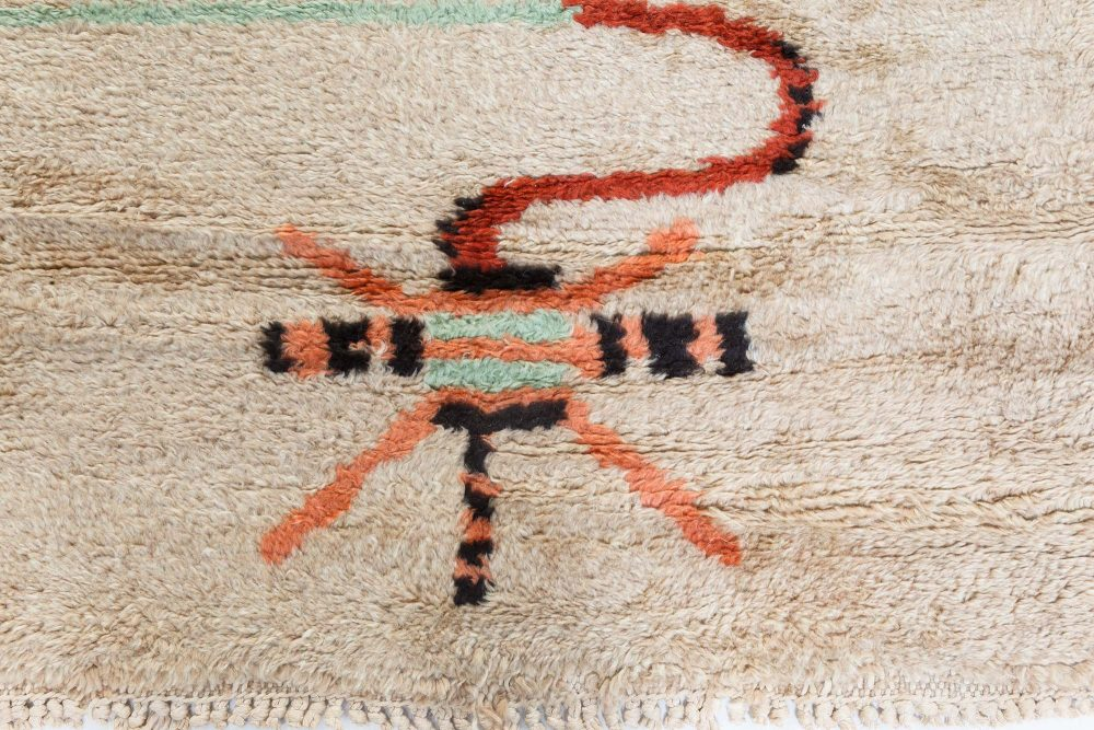 French Art Deco Rug in Beige, Brown, Green and Orange BB7103