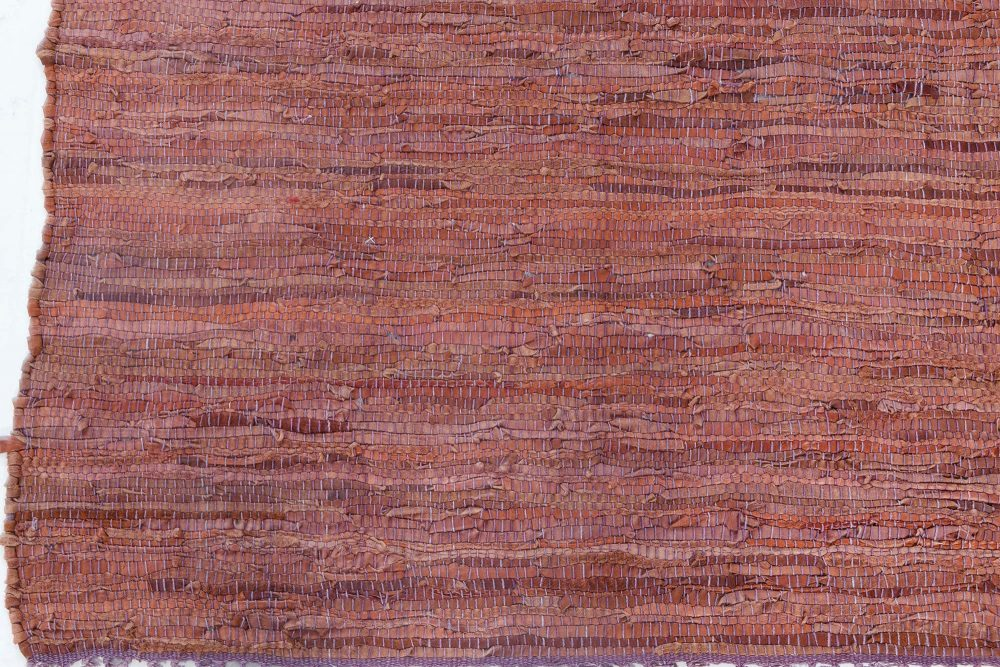 Mid-century American Dark Red and Pink Hand-knotted Wool Rug BB7107