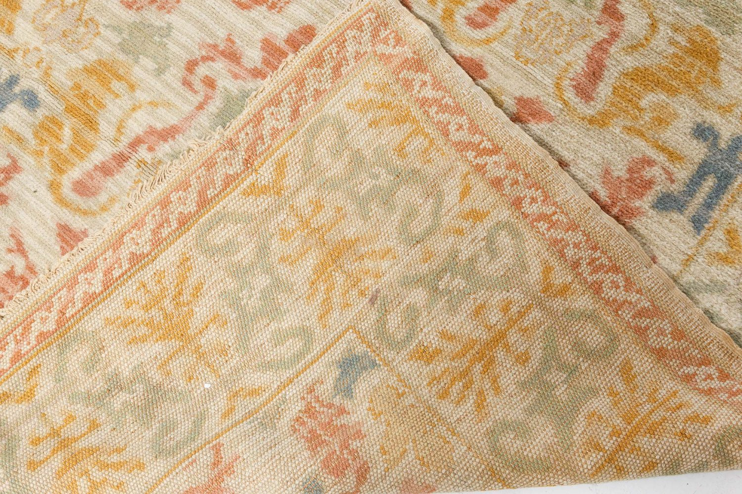 Vintage Botanic Spanish Handwoven Wool Carpet BB7111