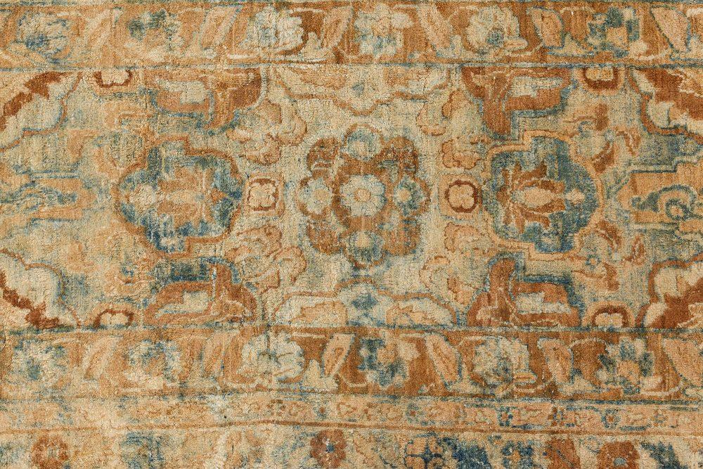 Antique Persian Kirman Ivory, Blue and Magenta Handwoven Wool Carpet BB7112