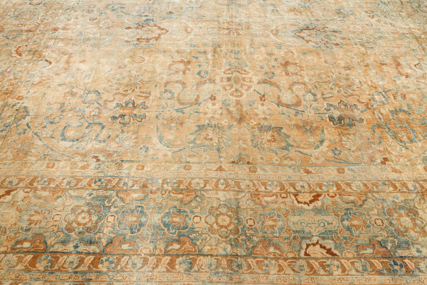 Antique Persian Kirman Ivory, Blue and Magenta Handwoven Wool Carpet BB7112