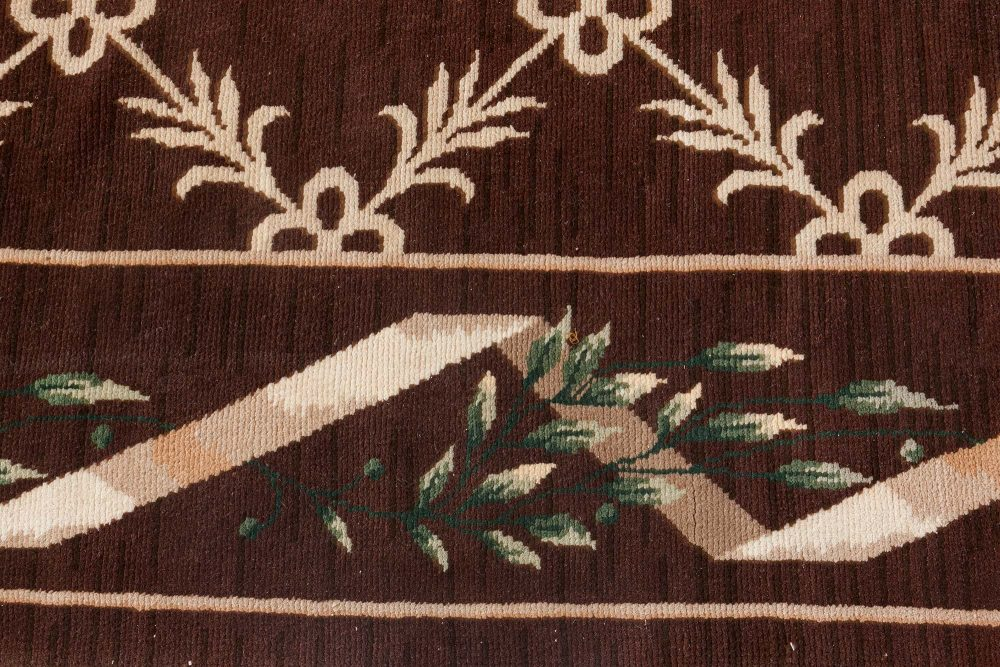 Vintage Spanish Chocolate Brown and Ivory Handwoven Wool Carpet BB7114