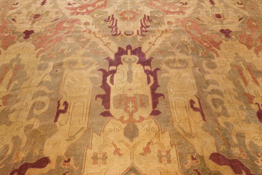 Antique Indian Handwoven Wool Carpet BB7118