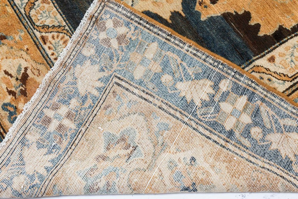 Oversized Antique Persian Bakhtiari Floral Beige and Blue Handwoven Rug BB7119