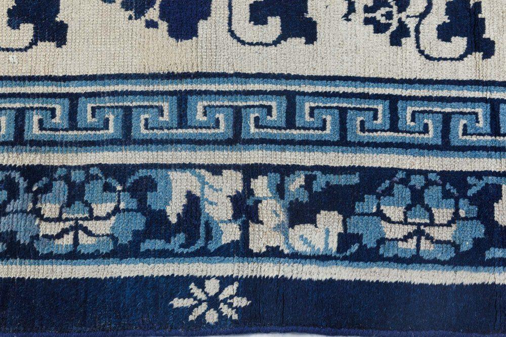 19th Century Chinese Indigo Blue Handwoven Wool Rug BB7126