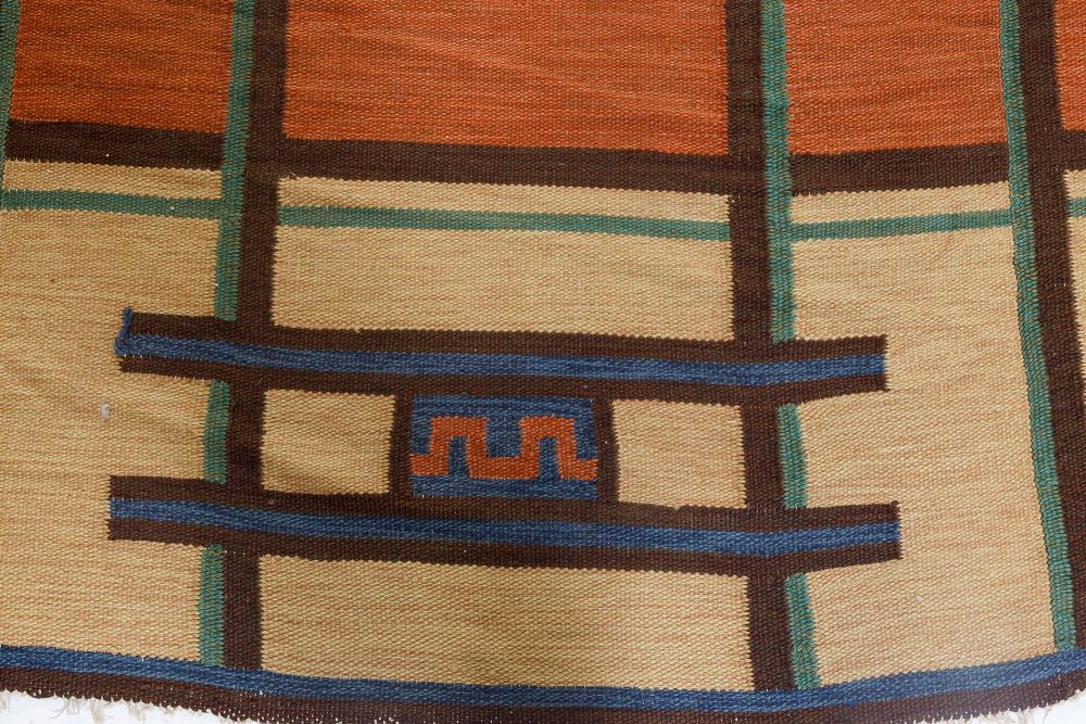 Large Vintage Art Deco Scandinavian Rug by Tora Hokansson BB7127