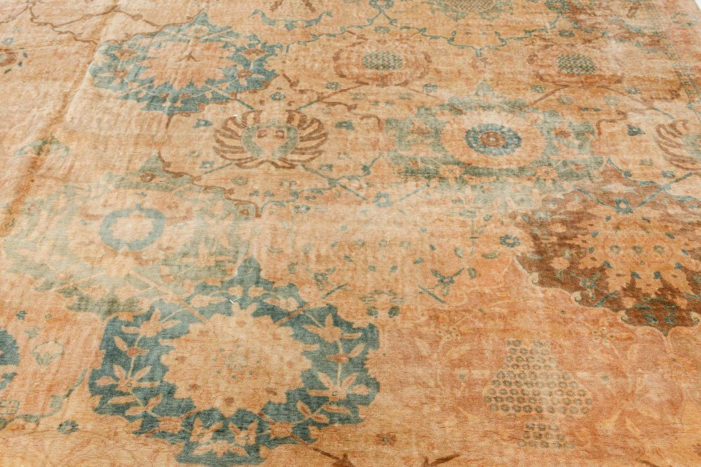 Antique Indian Beige, Cocoa and Indigo Handwoven Wool Rug BB7131