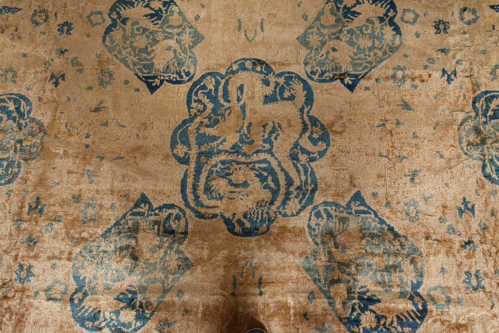 Antique Indian Beige and Sky Blue Handwoven Wool Rug BB7136