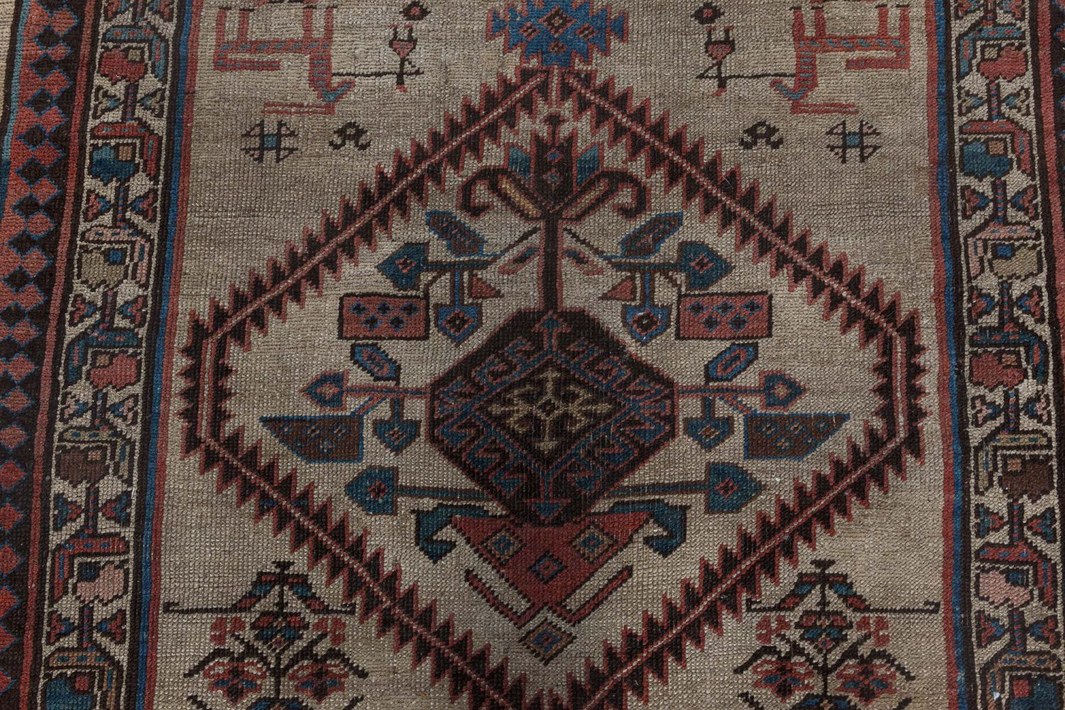 1900s Persian Runner with Floral Motifs on Camel Field BB7147