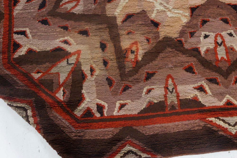 Vintage Art Deco Ivory, Beige, Brown and Light Pink Rug BB7156