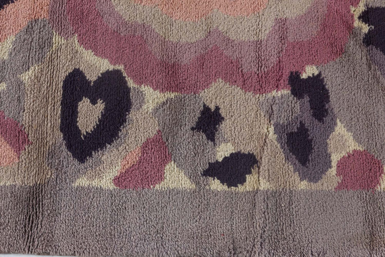Vintage French Art Deco Botanic Handwoven Wool Rug BB7157