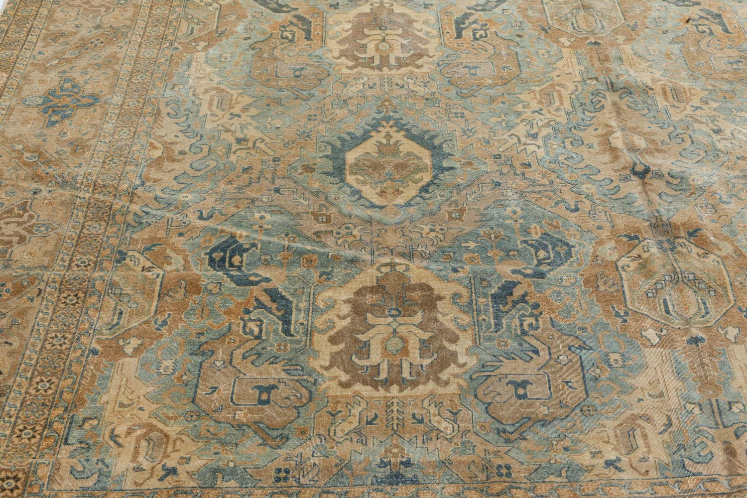 Persian Tabriz Light Blue, Cream and Rust Handwoven Wool Rug BB7158