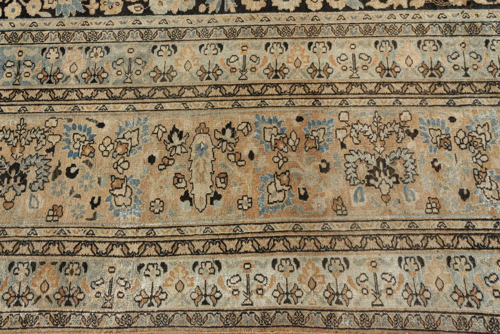 19th Century Persian Tabriz Black and Pale Rust Handwoven Wool Rug BB7162