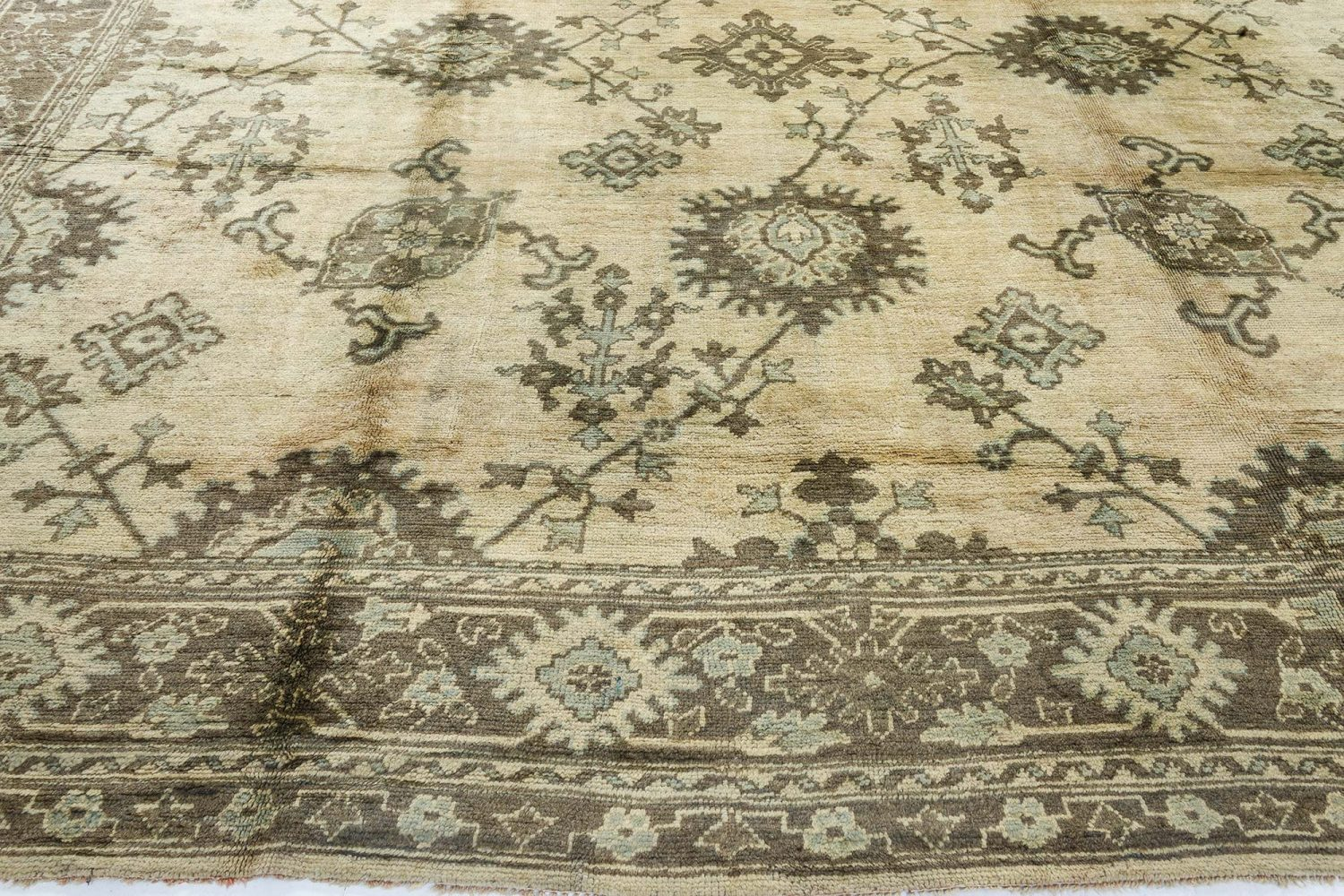 Turkish Oushak Beige, Dark and Light Moss Green Handwoven Wool Rug BB7167