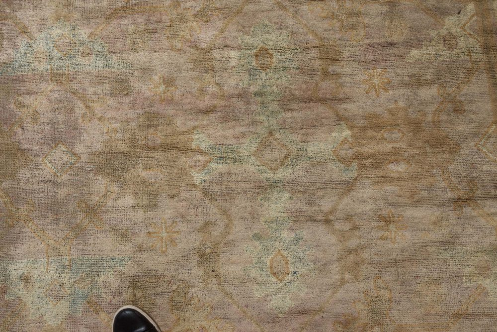Oversized Vintage Chinese Camel and Light Green Wool Carpet BB7170