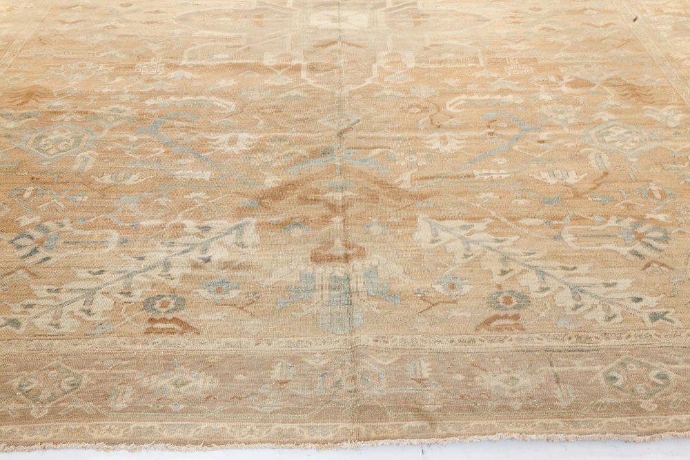 19th Century Persian Heriz Brown, Soft Blue and Cream Rug BB7193