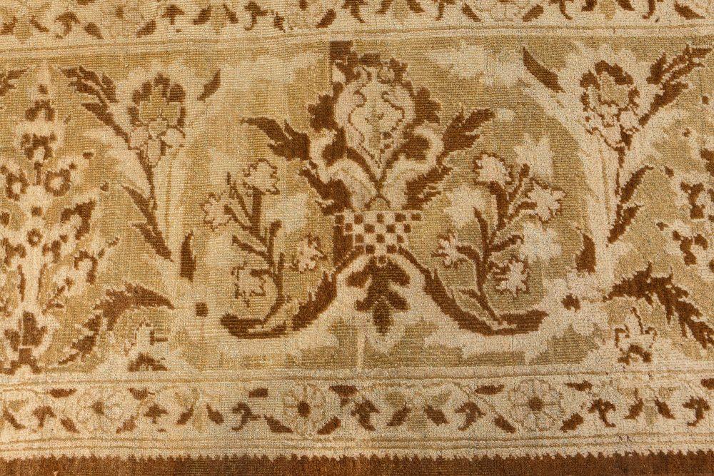 19th Century Indian Amritsar Botanic Brown Handwoven Wool Rug BB7201