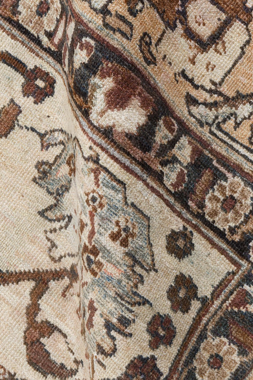 Antique Tabriz Ivory, Blue and Brown Handwoven Wool Rug BB7207