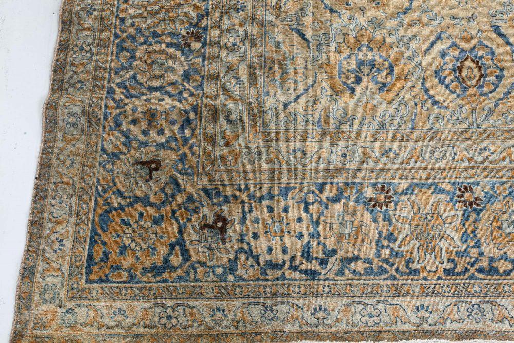Vintage Persian Tabriz Blue, Beige and Brown Wool Carpet BB7210