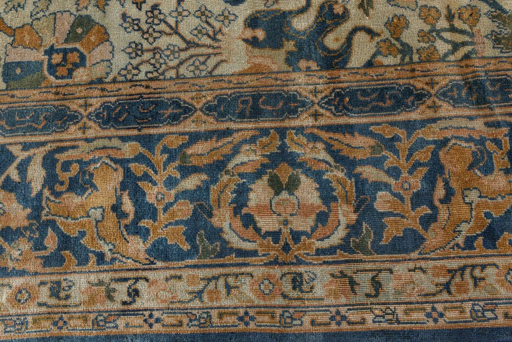 Antique Indian Blue and Beige Handwoven Wool Rug BB7243