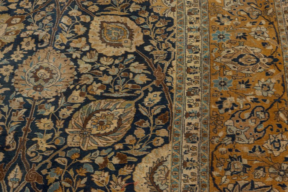 19th Century Persian Tabriz Botanic Handwoven Wool Rug BB7252