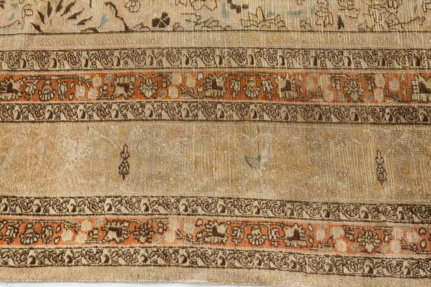 Antique Persian Meshad Camel and Brown Handwoven Wool Rug BB7263