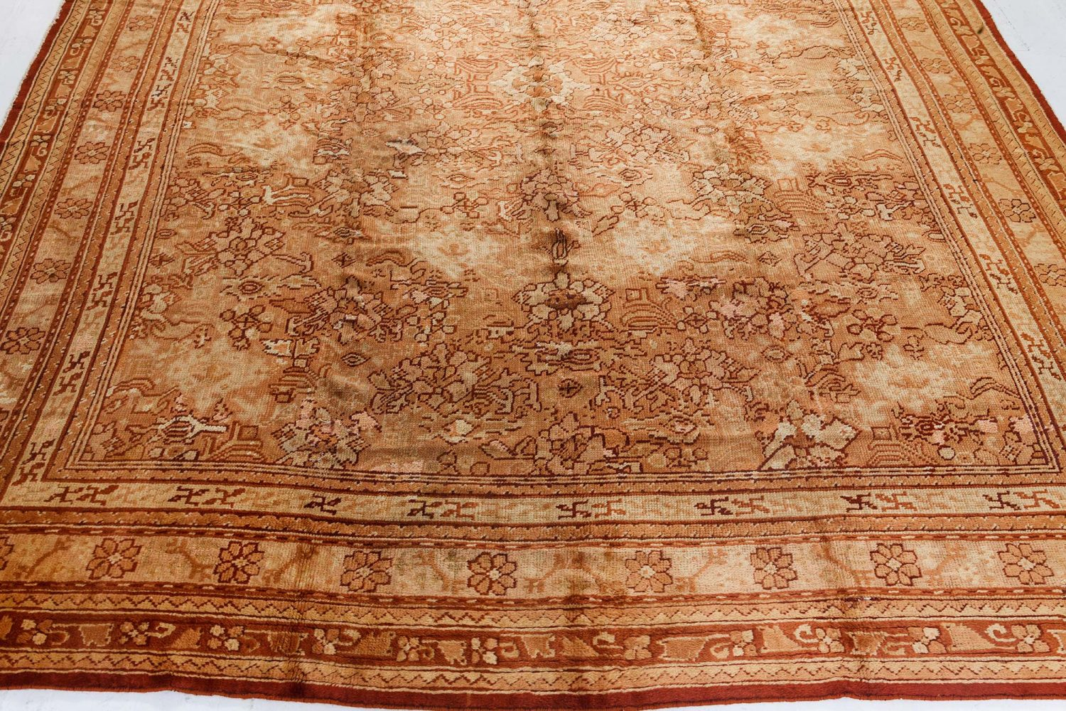 Antique Oushak Pale Rust Handwoven Wool Rug BB7264