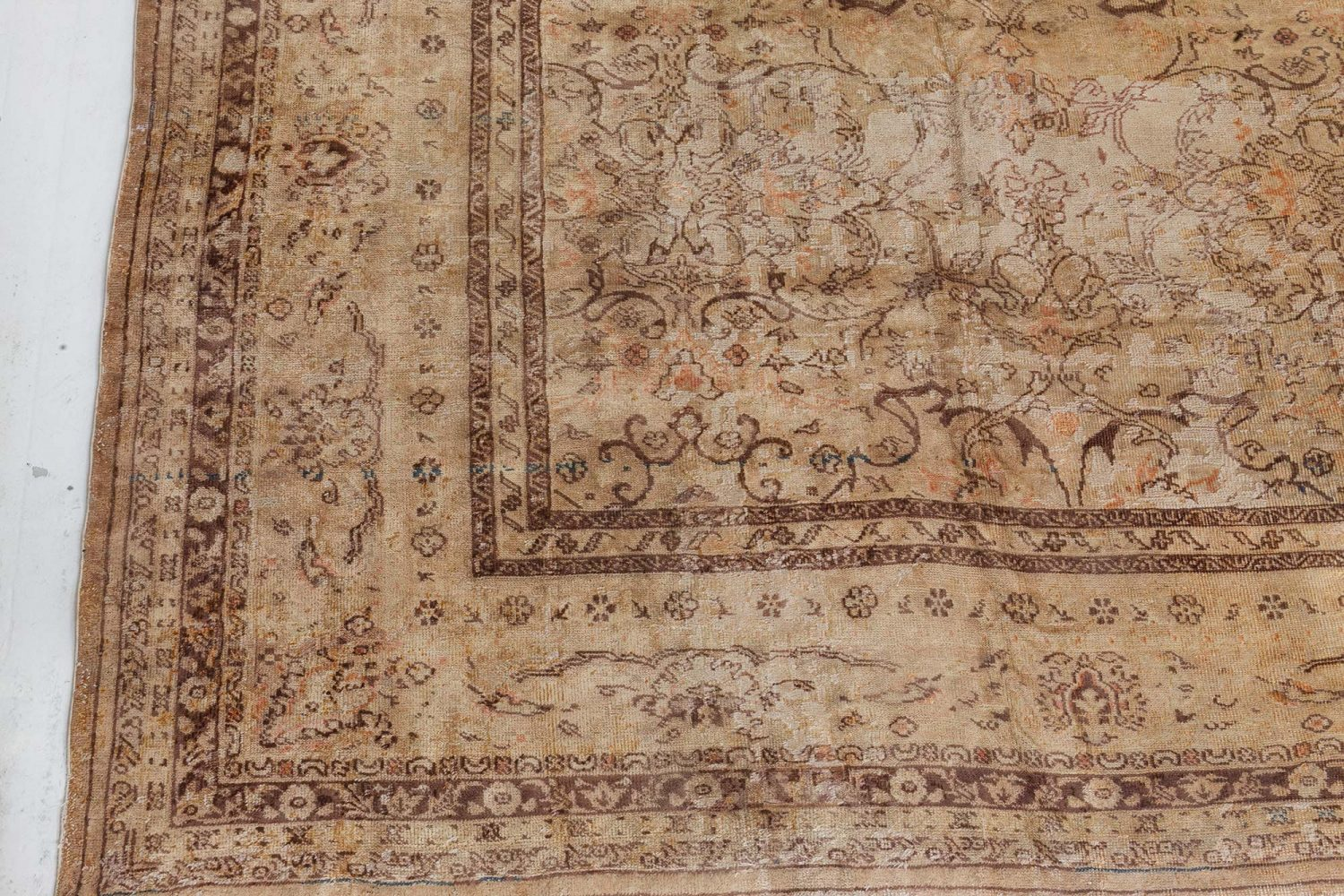 Antique Turkish Sivas Sand Handwoven Wool Rug BB7269