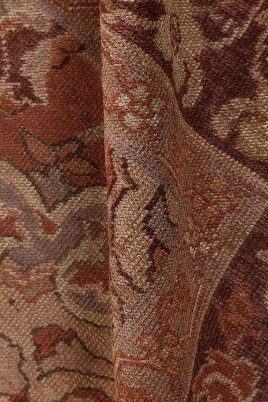 Turkish Hereke Dusty Rose and Burgundy Handwoven Wool Carpet BB7274