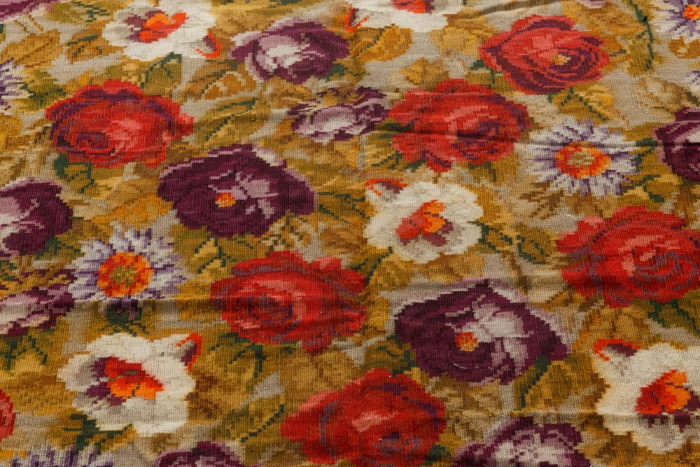 Antique Russian Bessarabian Floral Hand Knotted Wool Rug BB7280