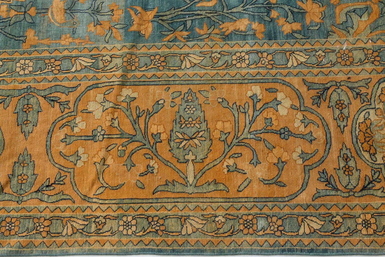 Antique Persian Kirman Green, Caramel and Cream Handwoven Wool Carpet BB7291