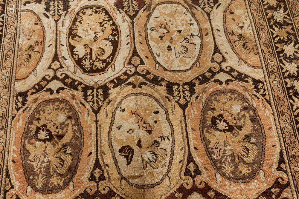 Caucasian Karabagh Beige and Brown Hand Knotted Wool Carpet BB7387