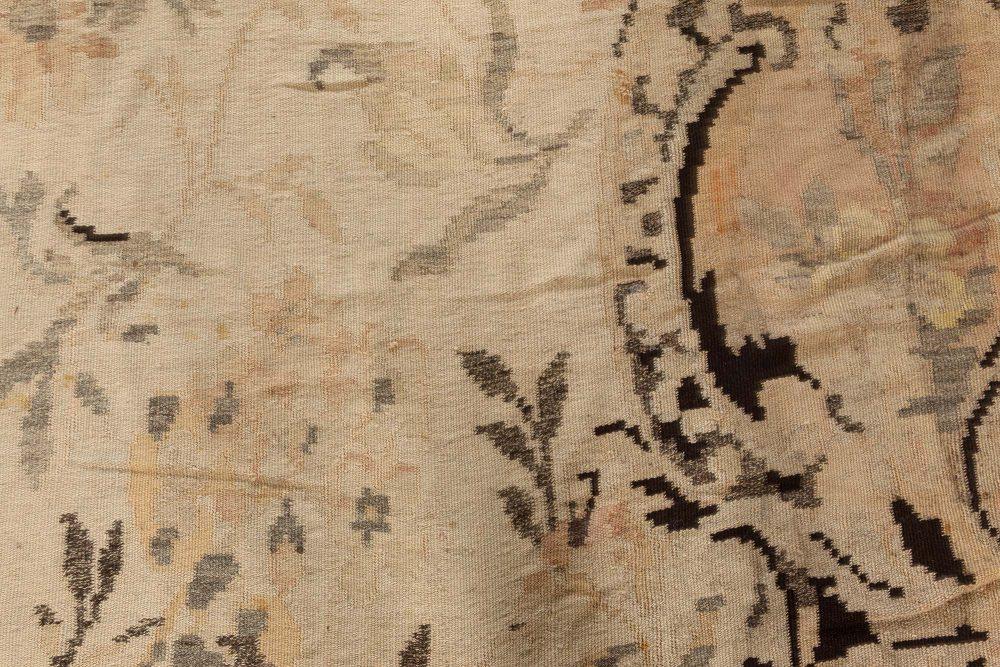 Russian Bessarabian Soft Gray, Green and Orange Handwoven Wool Rug BB7393