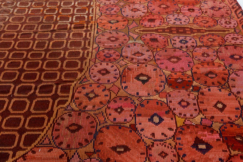 Vintage Brown Viennese Handwoven Wool Carpet BB7402
