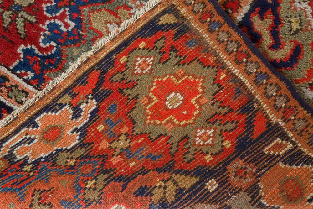 Antique English Axminster Red, Blue and Beige Handwoven Wool Rug BB7403