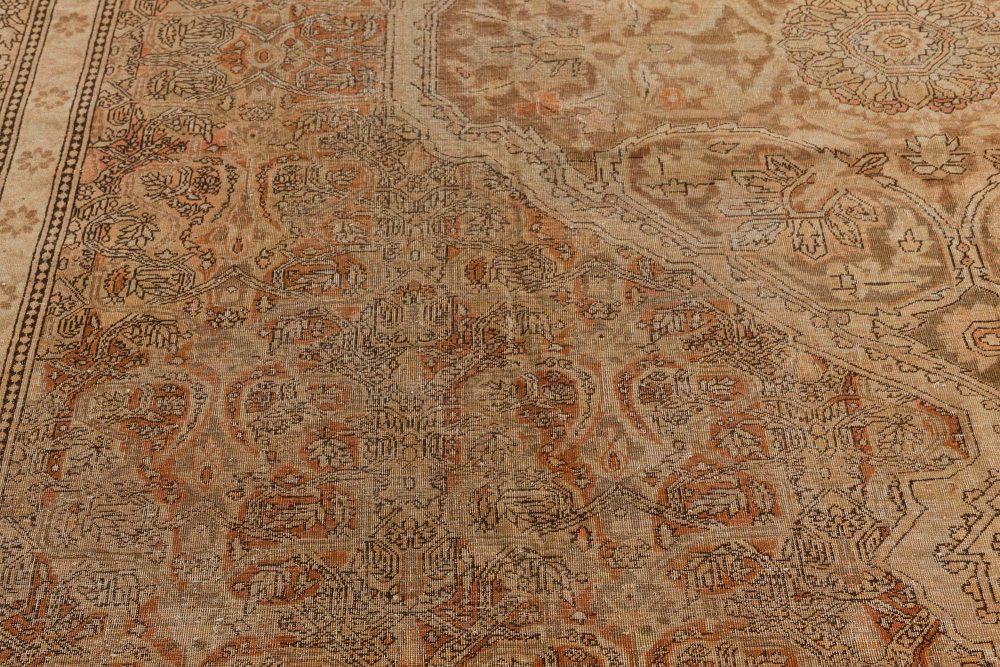 19th Century Indian Amritsar Caramel, Gray, Peach and Green Wool Rug BB7405