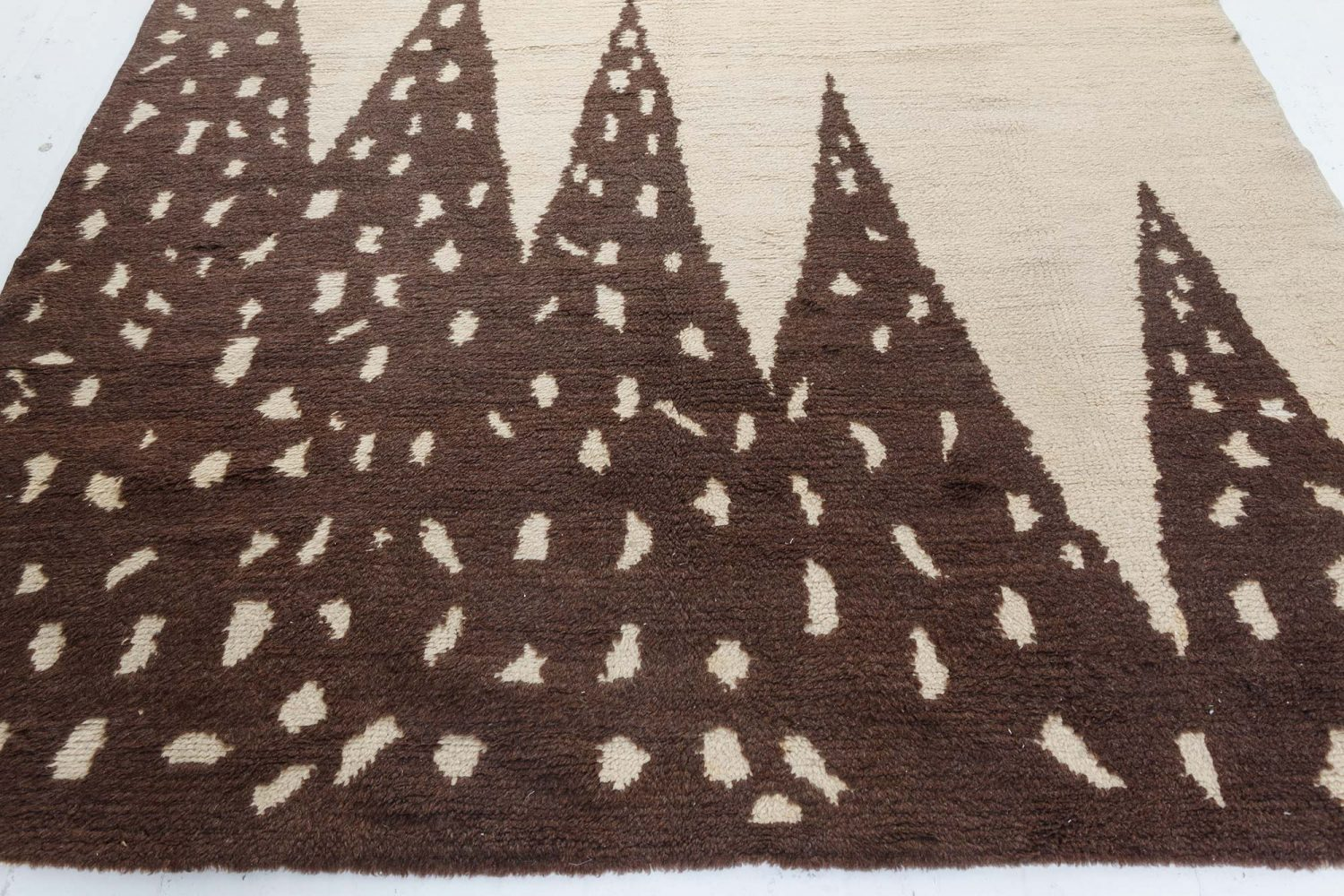 Vintage Art Deco Beige and Brown Hand Knotted Wool Rug BB7409